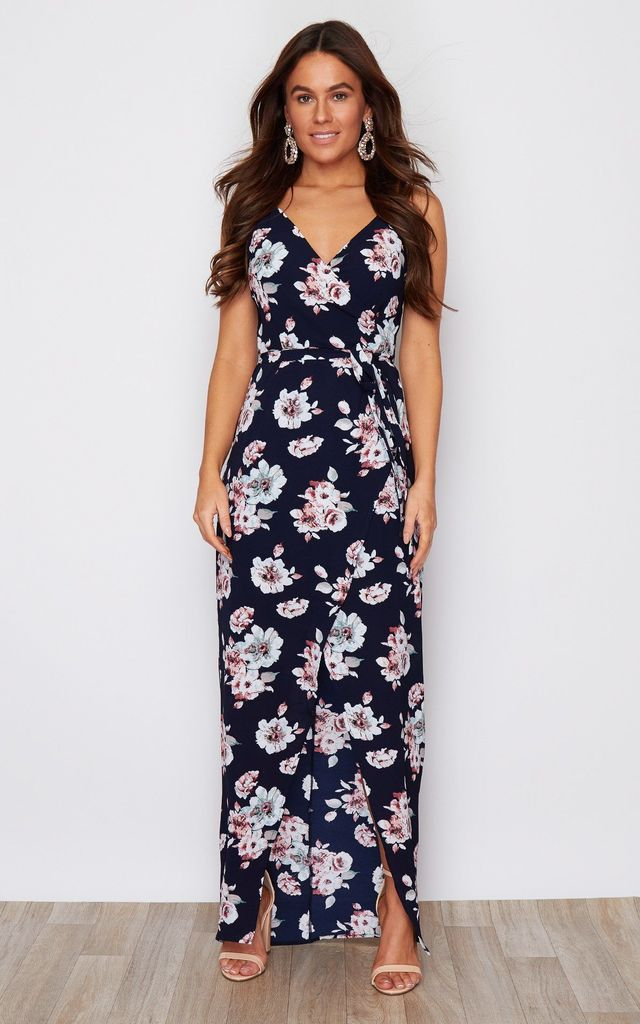 Mia Wrap Maxi Dress Navy Floral Print by Girl In Mind