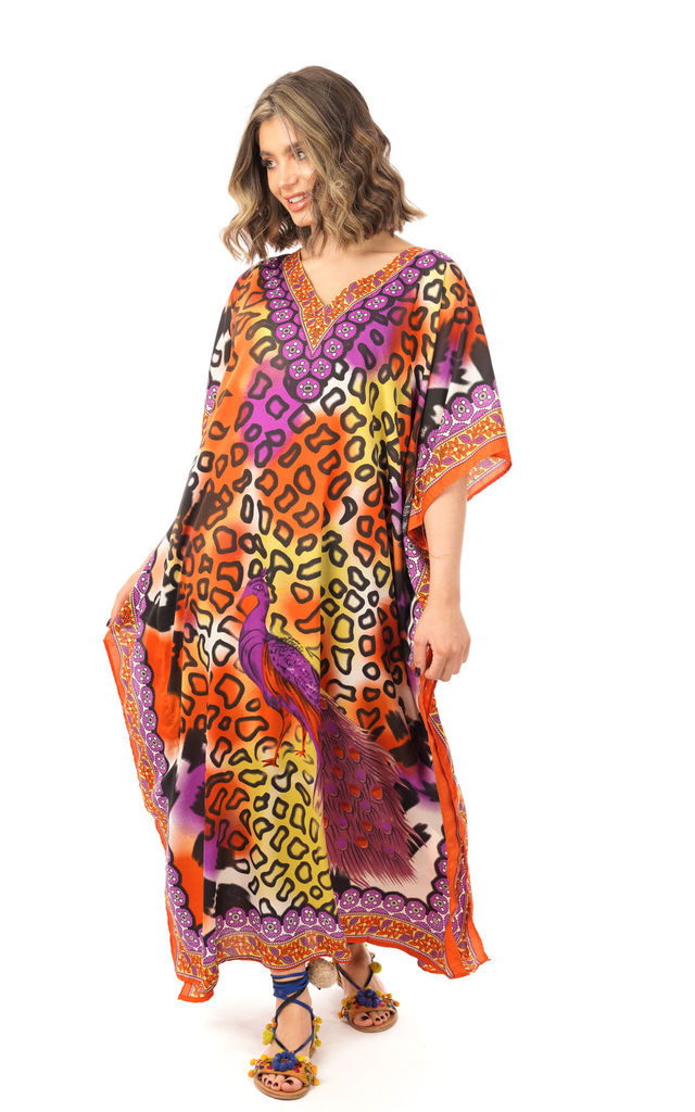 Oversized Maxi Kaftan Dress in Purple Mixed Print by Looking Glam