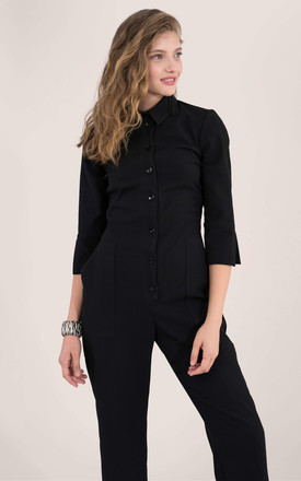 3/4 Sleeve Boiler Suit in Black by Closet London