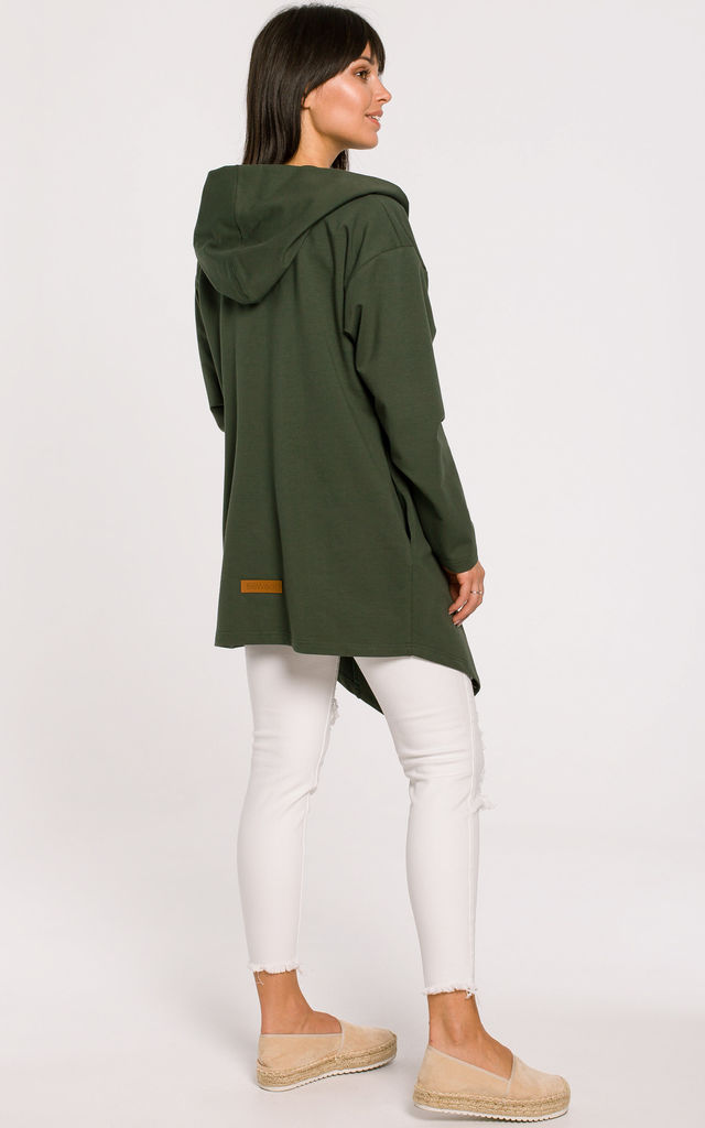 Open Front Hooded Blazer in Green by MOE