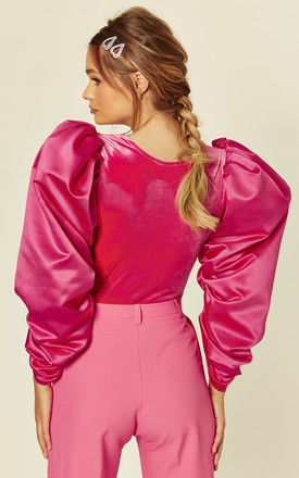 Velvet & Satin Extreme Sleeve Top in Pink by Aoife Ireland