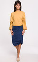 Knee Lenght Pencil Skirt in Navy Blue by MOE