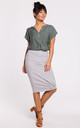 Knee Lenght Pencil Skirt in Grey by MOE