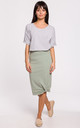 Knee Lenght Pencil Skirt in Green by MOE