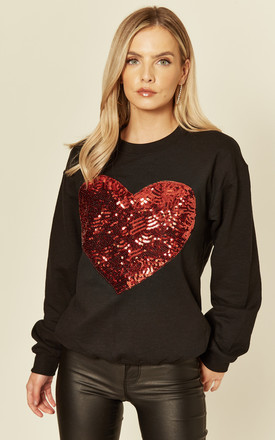 Valentine Oversized Black Sweatshirt with red sequin heart motif by Fearless Alice Custom