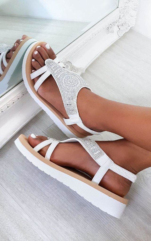 Carlee Diamante Embellished Sandals in White by IKRUSH