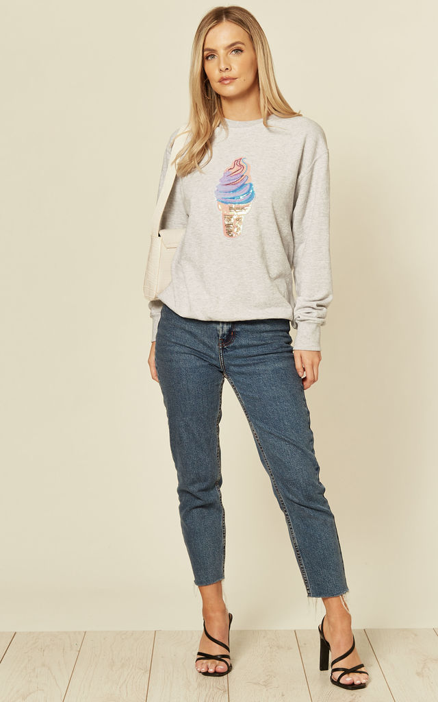 Grey Sweatshirt with Sequin Ice Cream by Fearless Alice Custom