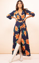 Jagger Dress in Orange on Navy Blue Tulip by Dancing Leopard