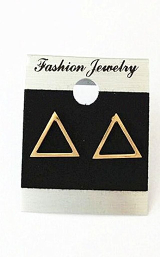 Rose Gold Hollow Triangle Stud Earrings by GIGILAND