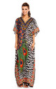 Oversized Maxi Kaftan Dress in Blue Animal Print by Looking Glam