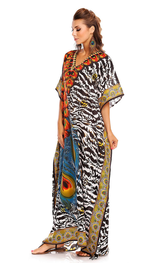 Oversized Maxi Kaftan Dress in Red Animal Print by Looking Glam
