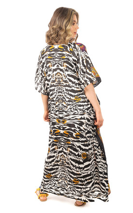 Oversized Maxi Kaftan Dress in Purple Animal Print by Looking Glam