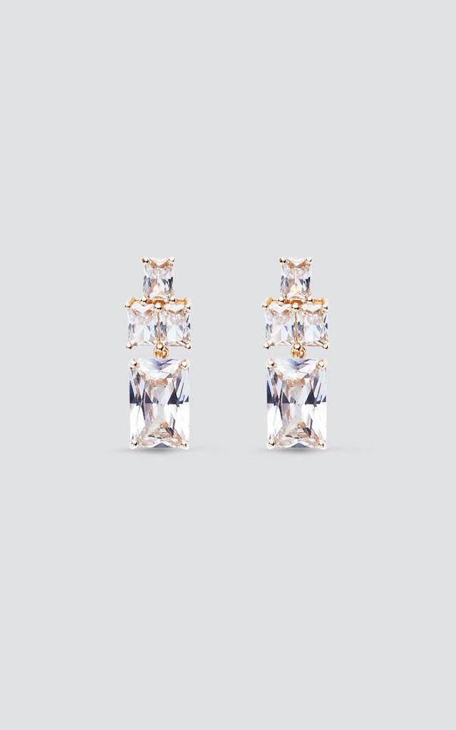 Graduated Gold Crystal Earrings by Maids to Measure