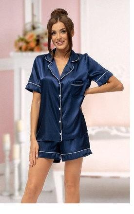 Satin Piped Pyjama Set in Navy by BB Lingerie