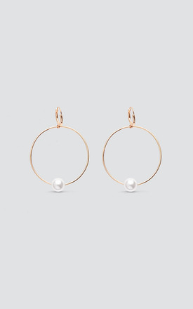 Gold Hoop Earrings with Faux Pearl by Maids to Measure