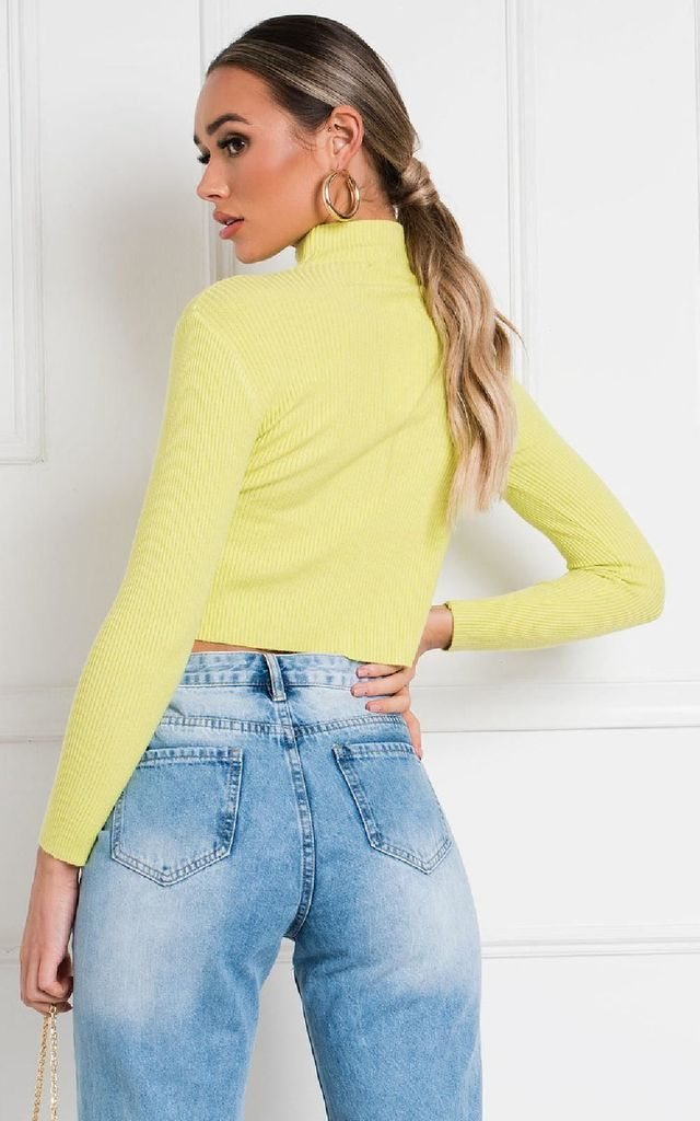 Rollo Ribbed High Neck Crop Top in Lime by IKRUSH