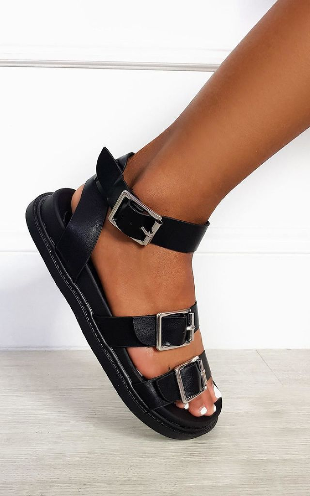 Ray Strappy Platform Sandals in Black by IKRUSH