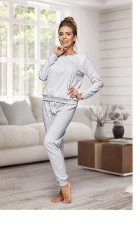 Cotton Loungewear Set in Grey | Long Sleeve Top & Bottoms by BB Lingerie