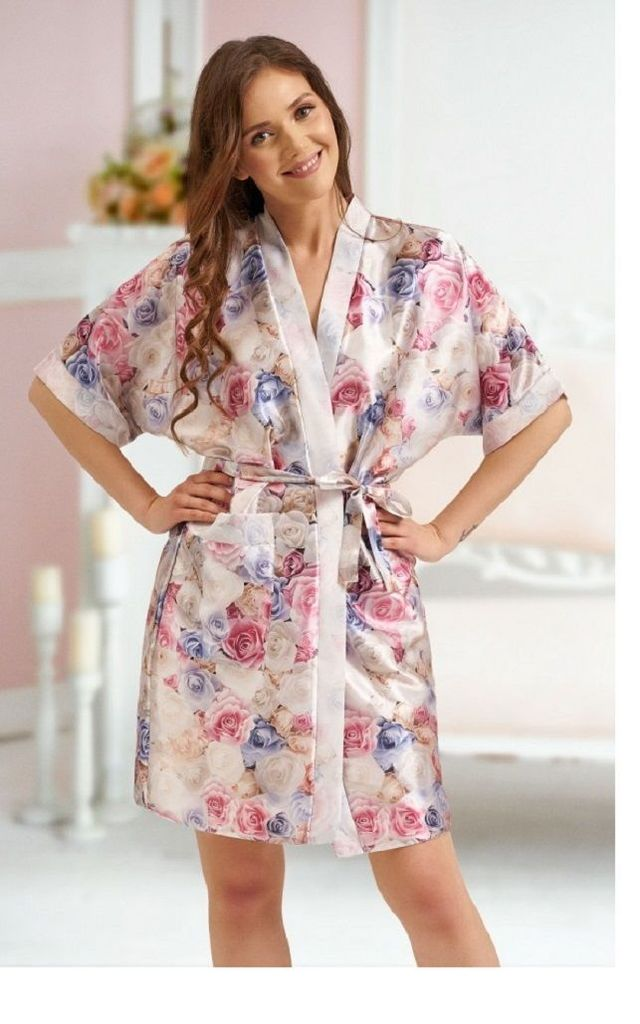Satin Dressing Gown in Multicolour Floral Print by BB Lingerie