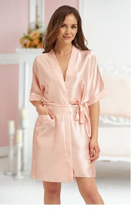 Mazie Satin Dressing Gown In Nude by BB Lingerie