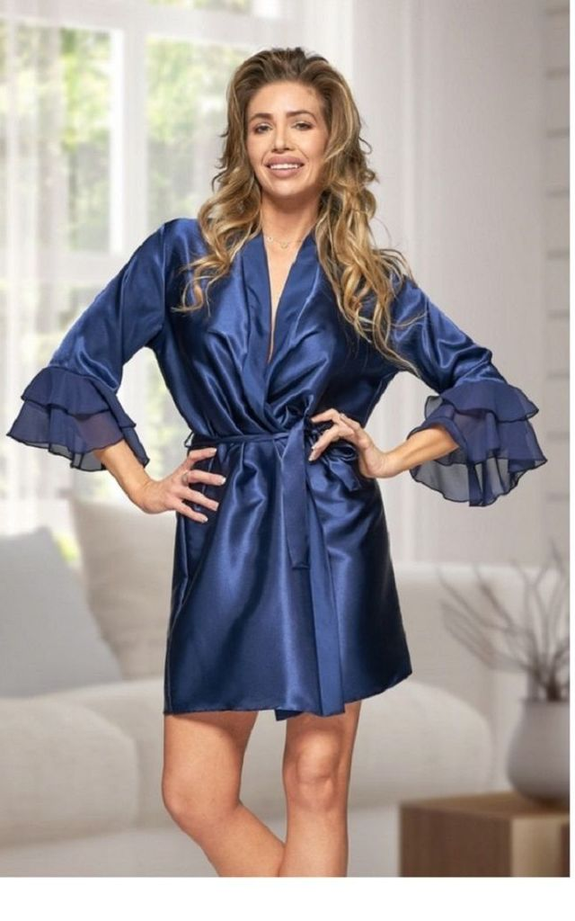 Ruffle Satin Dressing Gown in Navy by BB Lingerie