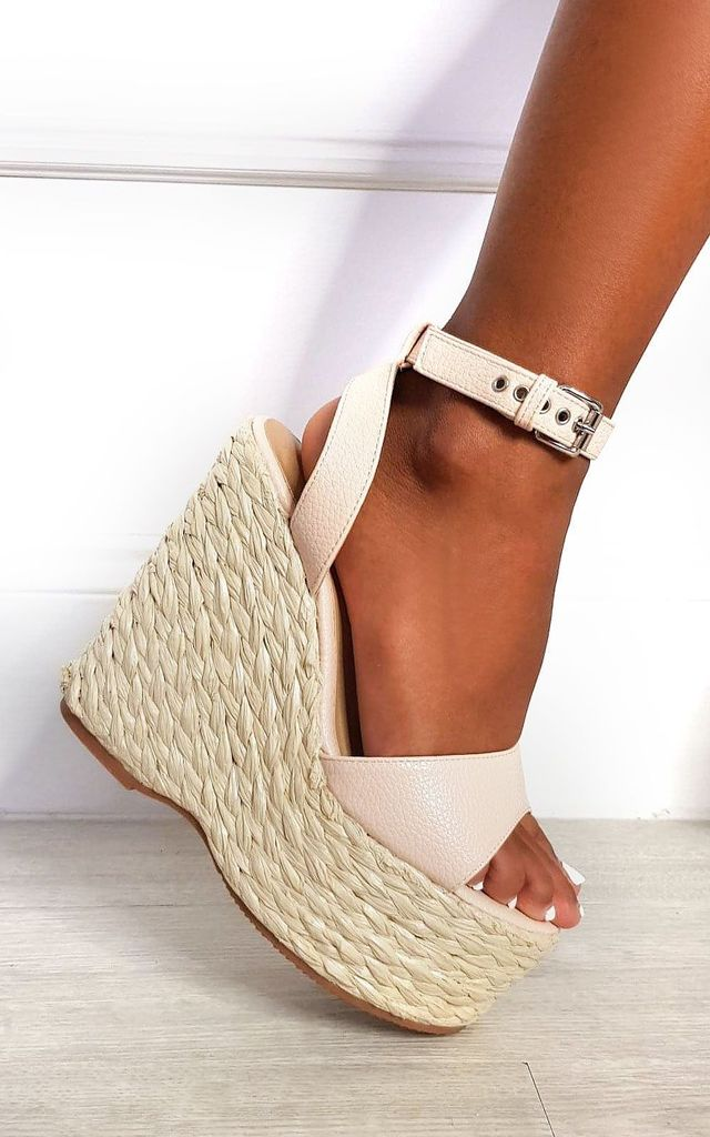 Leanna Strappy Wedged Heel in Pink by IKRUSH