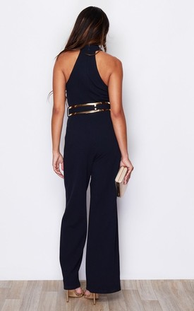 High Neck Wide Leg Jumpsuit With Belt Navy