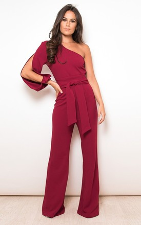 Amari One Sleeve Wide Leg Jumpsuit in Wine by Girl In Mind