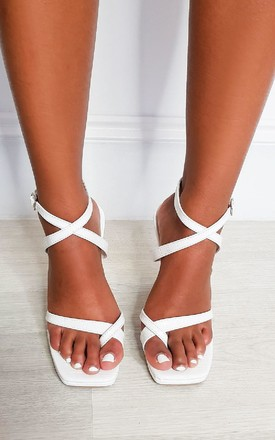 Bella Strappy Statement High Heels in White by IKRUSH