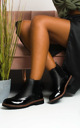 Katie Faux Leather Brogue Chelsea Boots in Black by IKRUSH