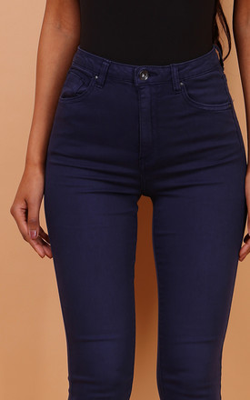 Toxik High Waisted Stretch Jeans in Faded Navy by Azzediari Clothing