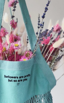 Green 'Market Treats' Bag with Sunflowers Are Pretty Embroidery by Emma Warren