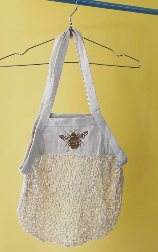 Natural 'Market Treats' Bag with Bee Embroidery by Emma Warren