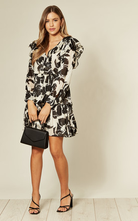 Mini Dress in White & Black Floral Print by Lucy Sparks