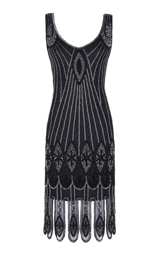 Molly Embellished Flapper Dress in Black Silver by Gatsbylady London