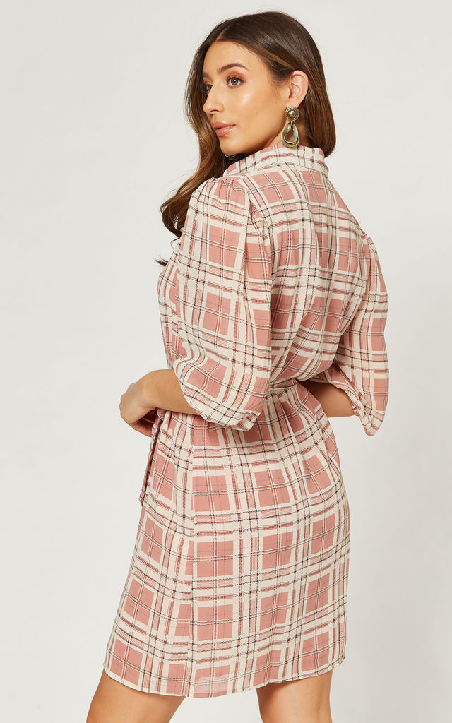 Work Wear Shirt dress in Pink and White check by Gini London