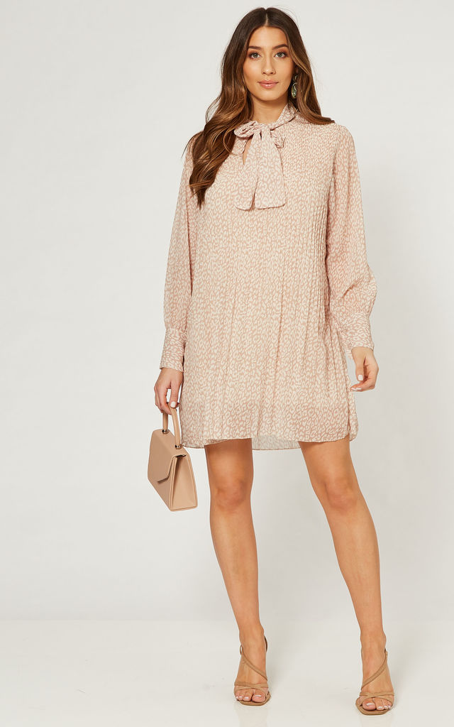 Pleated Mini Dress with Front Tie in Pink Animal Print by Gini London