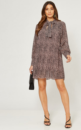 Pleated Mini Dress with Front Tie in Black/Pink Animal Print by Gini London