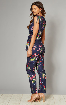 Cross-Over Jumpsuit in Navy Tulip Print by Yumi