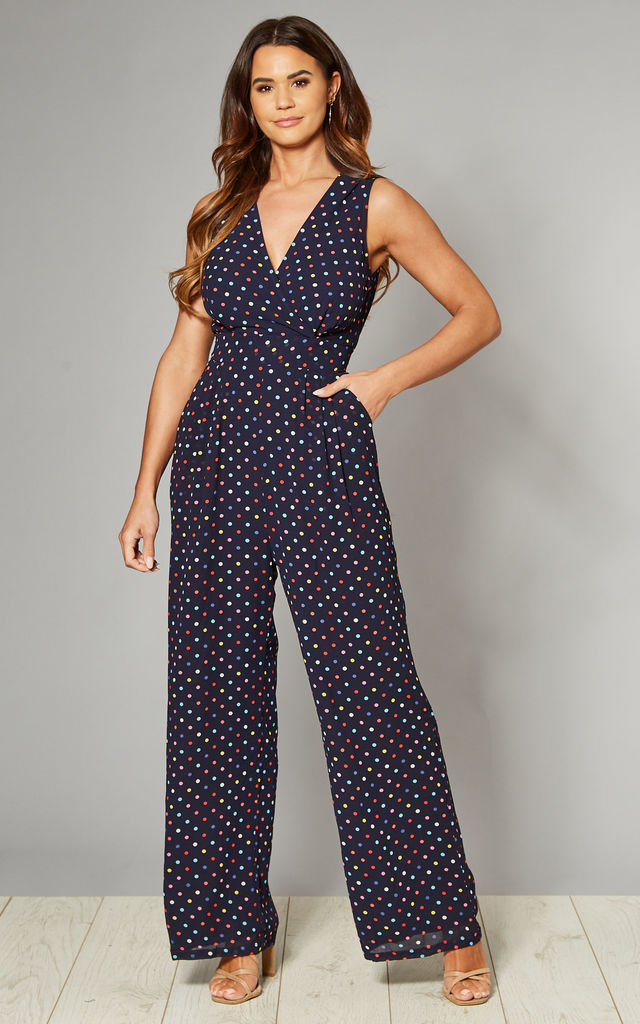 Cross-Over Jumpsuit in Navy Multi Spot Print by Yumi