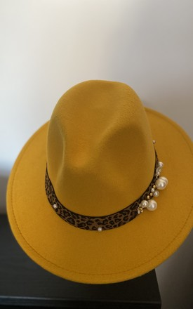 Mira Mustard Fedora with Leopard Print & Pearl Trim by Kate Coleman