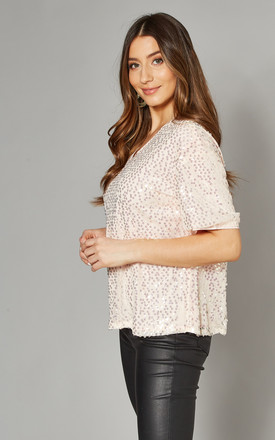 Short Sleeve Sequin Top in Blush by Yumi