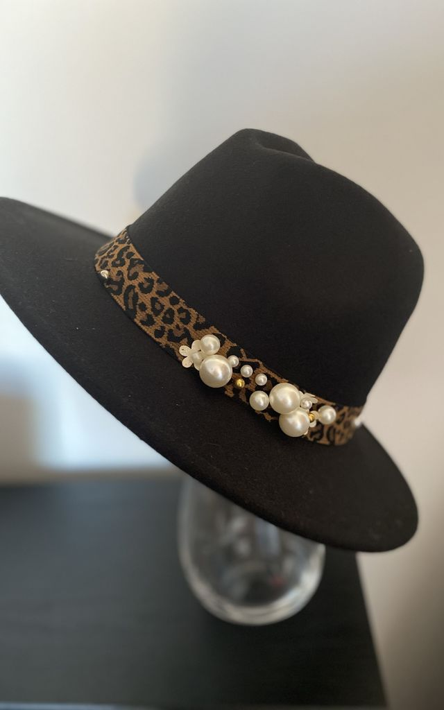 Ola Onyx Black Fedora with Leopard Print & Pearl Trim by Kate Coleman