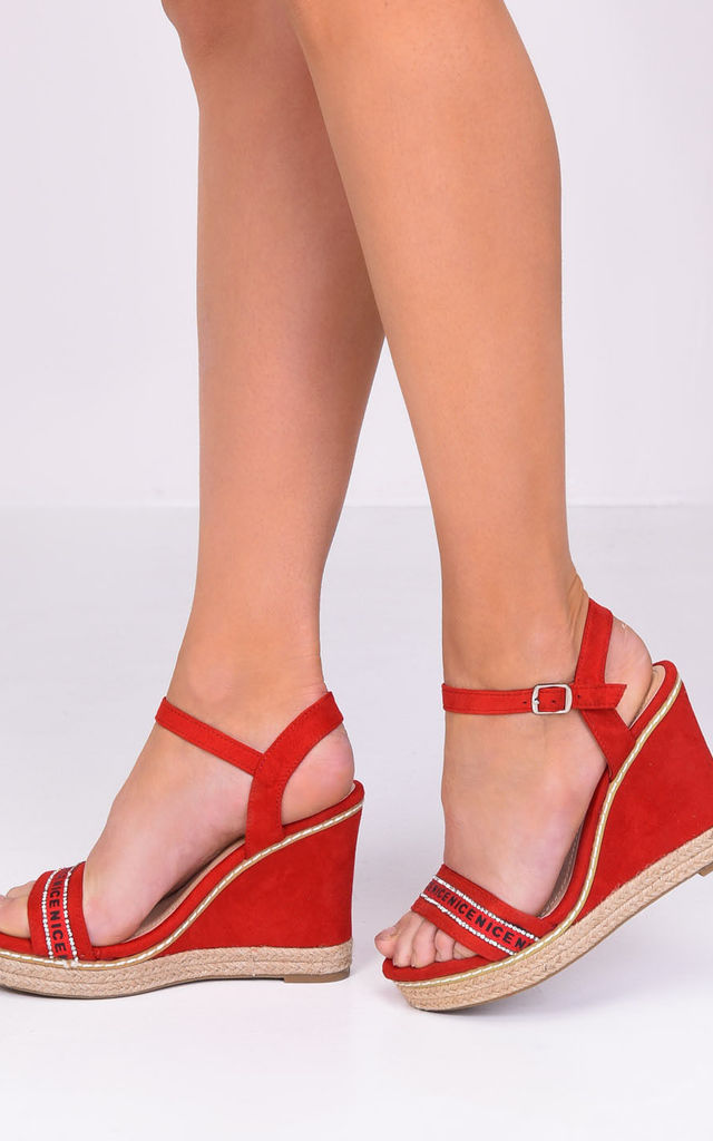 Diamante Faux Suede Wedge Sandals Red by LILY LULU FASHION