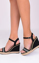 Diamante Faux Suede Wedge Sandals Black by LILY LULU FASHION