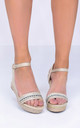 Diamante Faux Suede Wedge Sandals Beige by LILY LULU FASHION