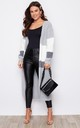 Cara Panelled Longline Cardigan Grey by Girl In Mind