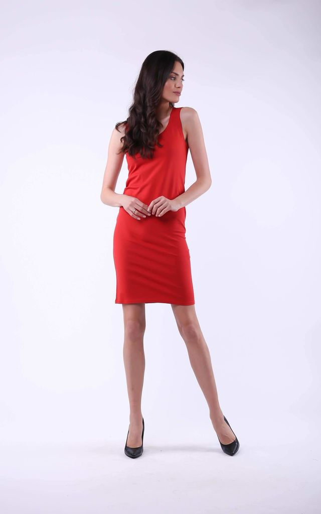 Red Mini Dress on Straps by Bergamo