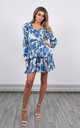 Mini Dress in White & Blue Floral Print by Lucy Sparks