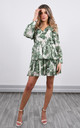 Mini Dress in White & Green Floral Print by Lucy Sparks